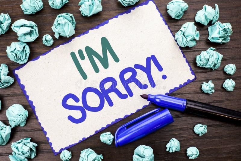 Показ i m примечания сочинительства огорченное Showcasing фото дела извиняется исковое заявление чувства совести опечаленное апол стоковое фото