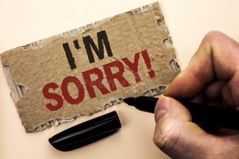 Показ i m примечания сочинительства огорченное Showcasing фото дела извиняется исковое заявление чувства совести опечаленное апол стоковые изображения