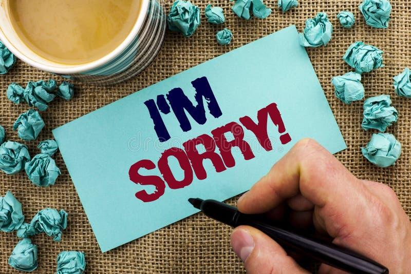Показ i m примечания сочинительства огорченное Showcasing фото дела извиняется исковое заявление чувства совести опечаленное апол стоковое фото rf