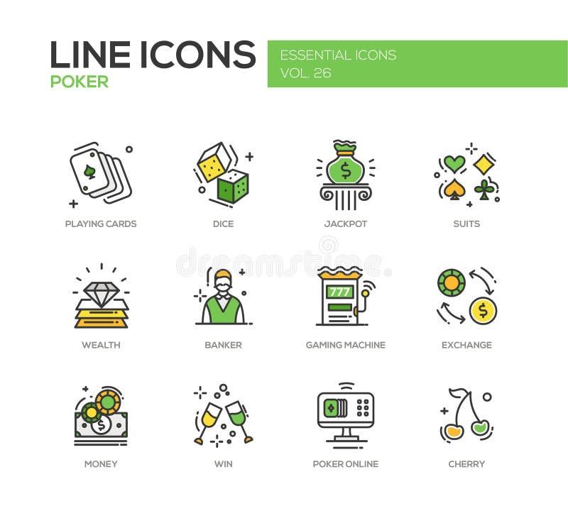Покер - линия установленные значки дизайна иллюстрация штока