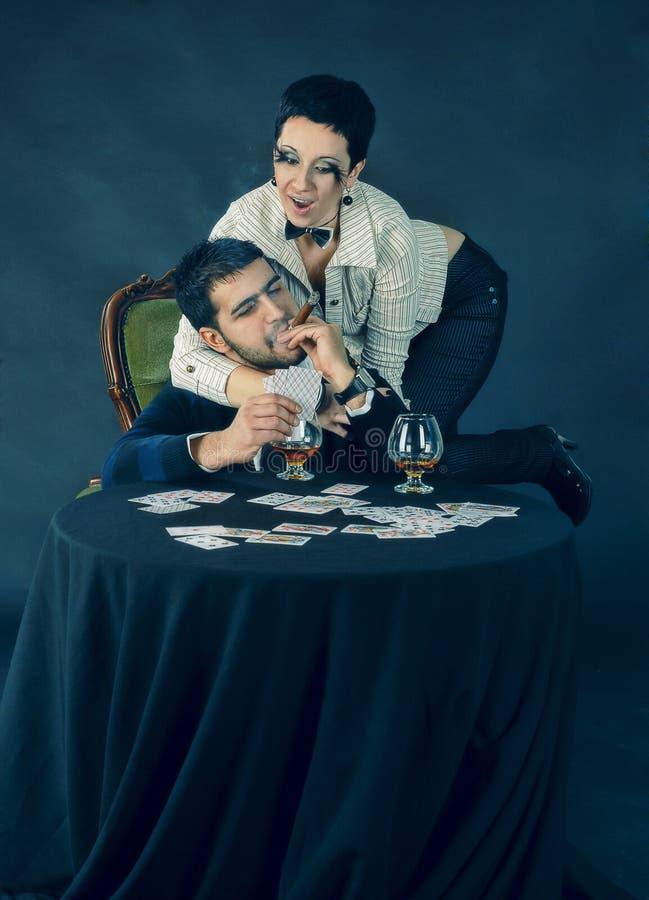 покер конгяка сигары стоковое изображение