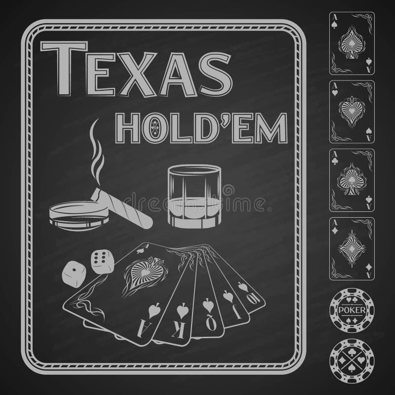 Покер em владением Техаса также вектор иллюстрации притяжки corel иллюстрация штока