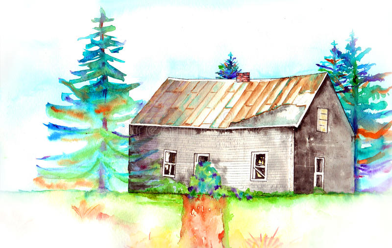 покинутая дом старая иллюстрация штока