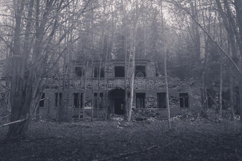 Покинутое и разваленное здание в тумане утра стоковые фотографии rf