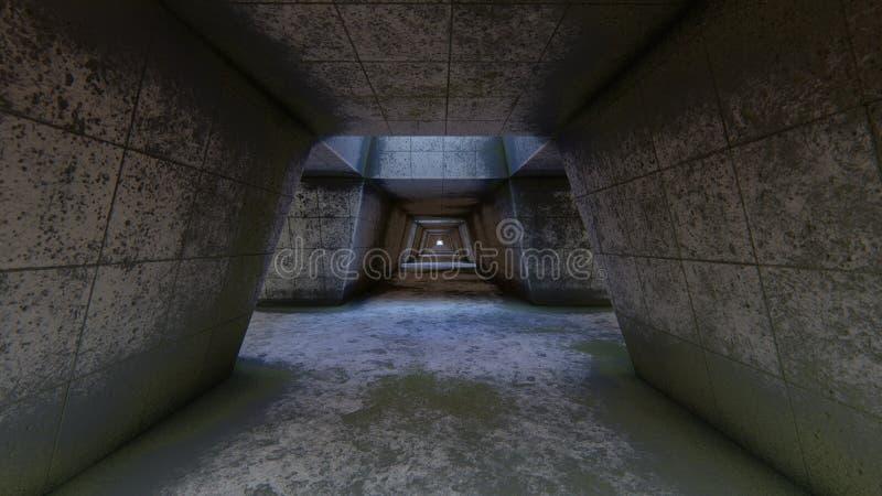 Покинутый fururistic тоннель иллюстрация штока