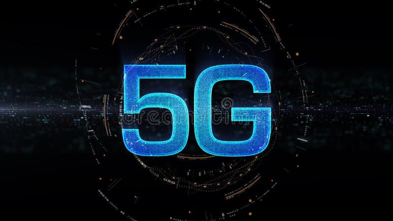 поколение значка 5G цифровое беспроводное высокоскоростное пятое новаторское иллюстрация вектора