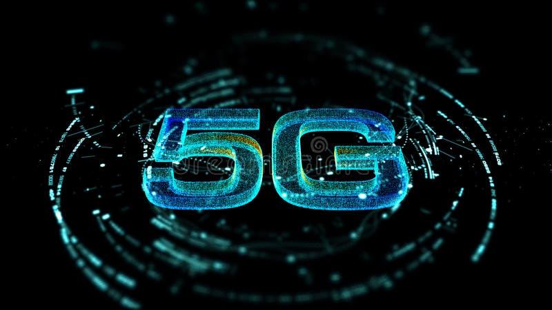 поколение значка 5G цифровое беспроводное высокоскоростное пятое новаторское иллюстрация штока