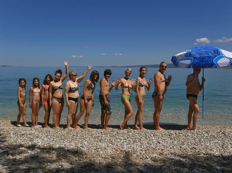 поколение 3 семьи пляжа стоковые изображения rf