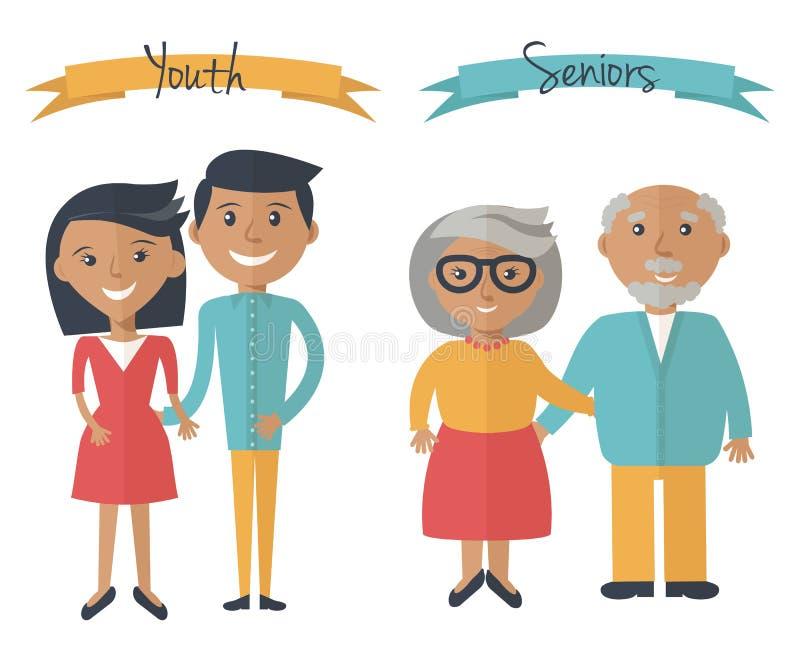 Поколения пар женщины и человека Пары семьи на различных временах Люди молодости и старшиев на белизне также вектор иллюстрации п иллюстрация штока