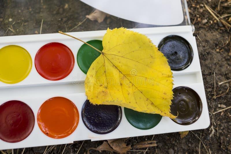 Покрасьте акварель и лист осени стоковые изображения rf
