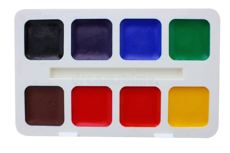 Покрасьте акварель на цветах белой предпосылки основных стоковые изображения