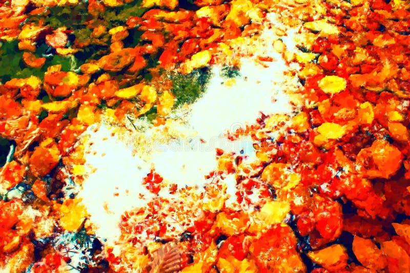 покрасьте акварель ходов красного цвета белым Покрасьте влияние Упаденные leves красного бука в воде реки горы, первые листья рев стоковое фото