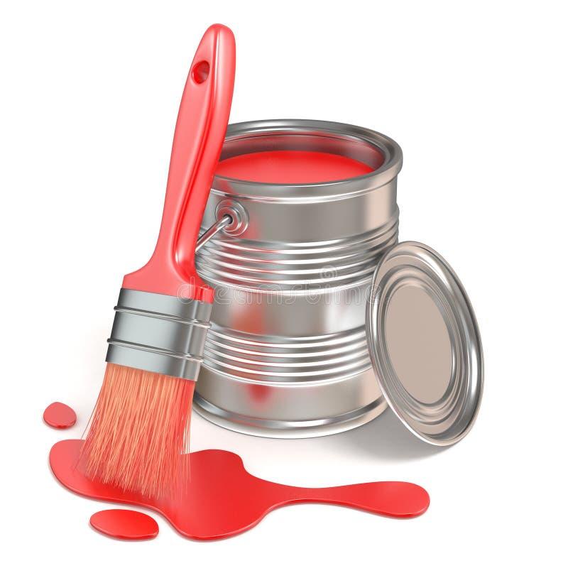 Покрасьте ведро, paintbrush и красное пятно 3d представляют иллюстрация штока