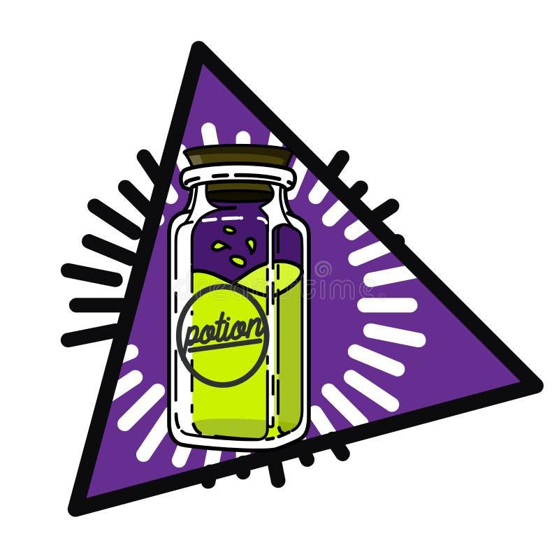 Покрасьте винтажную волшебную эзотерическую эмблему иллюстрация штока