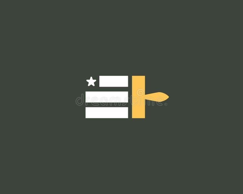 Покрасьте дизайн логотипа американского флага Логотип вектора ремесла США национальный бесплатная иллюстрация