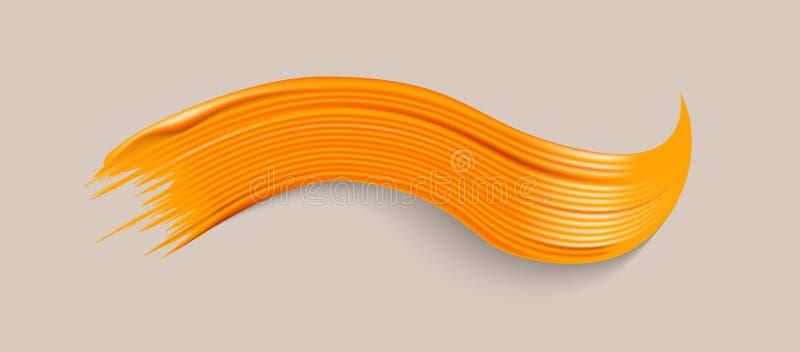 Покрасьте желтый цвет brushstroke иллюстрация штока