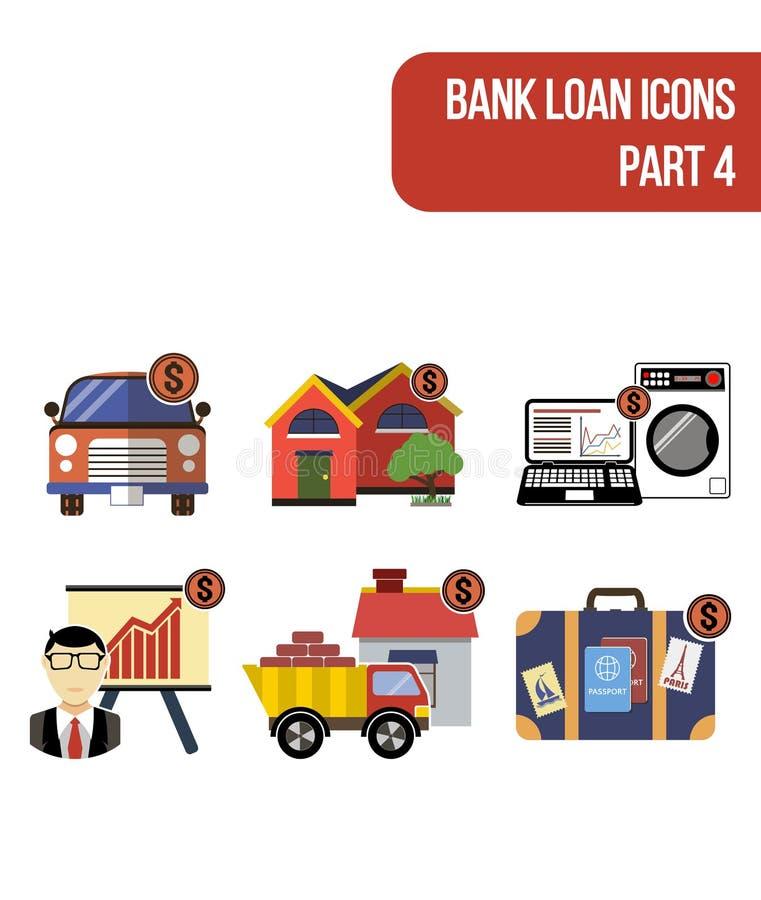 Покрасьте значки для различных типов обслуживаний банковской ссуды иллюстрация вектора