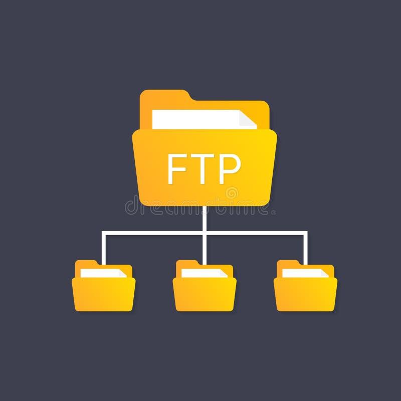 Покрасьте значок протокола ftp простой концепция актуализации программного обеспечения, маршрутизатора, управления инструмента сы иллюстрация штока