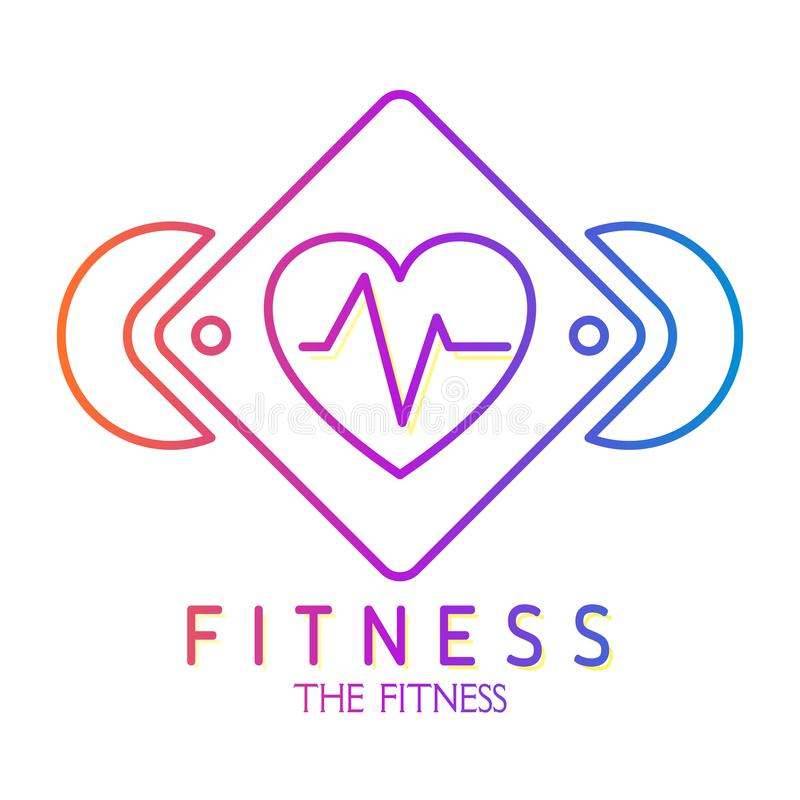 Покрасьте значок сердца с cardiogram в рамке Значок для фитнеса спорта здоровья вектор иллюстрация вектора