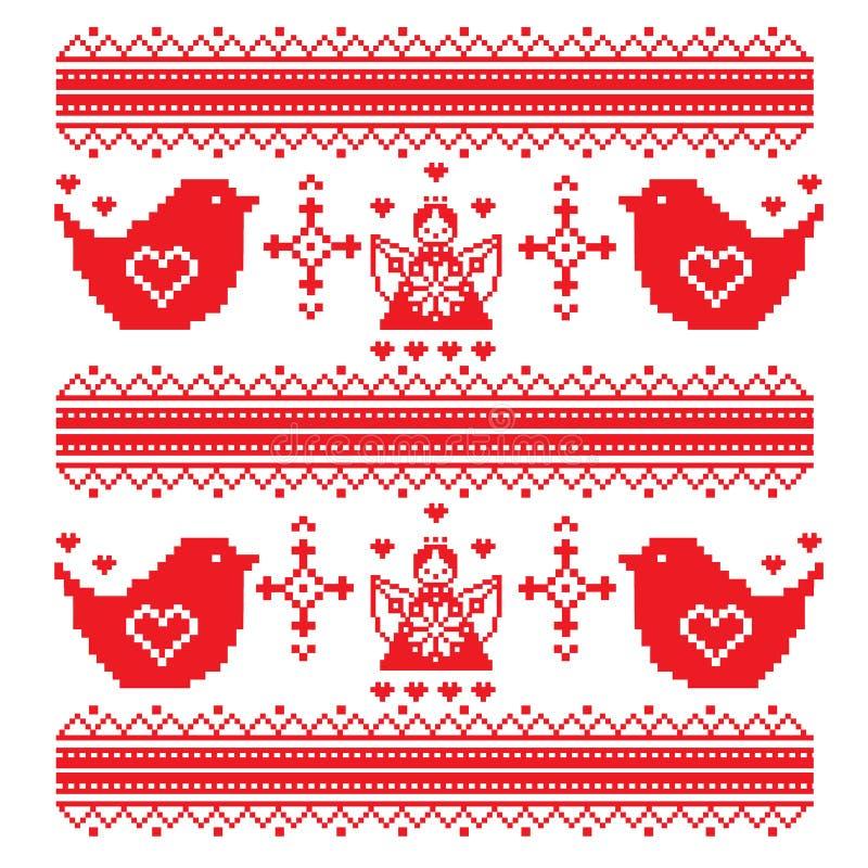 Покрасьте изображение chickadee птиц или воробья используя традиционные украинские элементы вышивки иллюстрация вектора