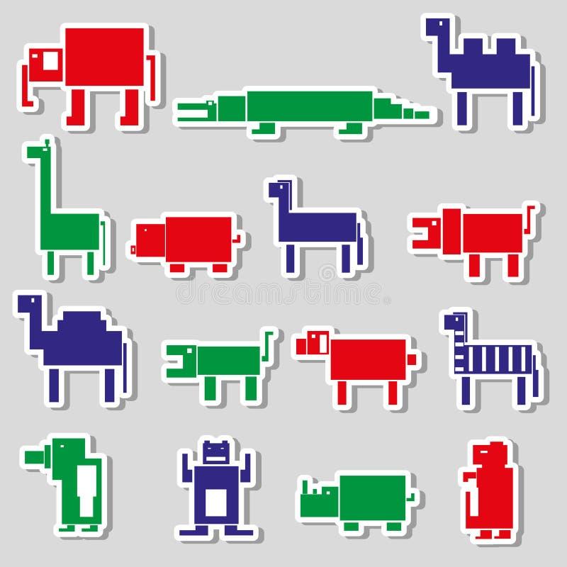 Покрасьте квадратные цифровые простые ретро стикеры животных иллюстрация штока