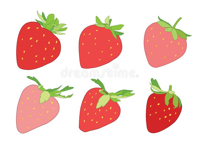 Покрасьте красную и розовую клубнику на белой предпосылке иллюстрация штока