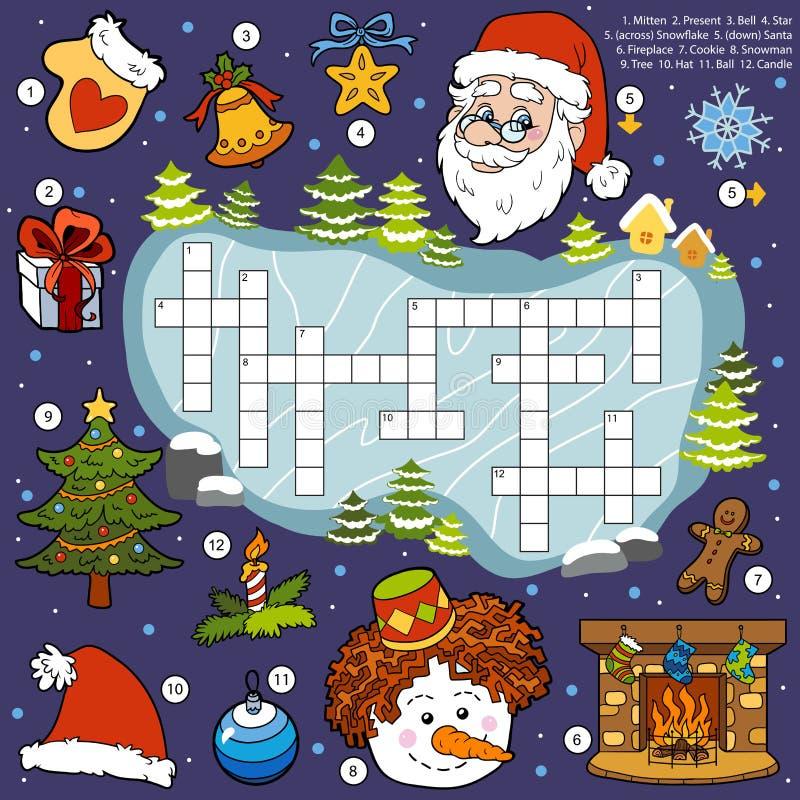 Покрасьте кроссворд, игру образования для детей о рождестве иллюстрация вектора