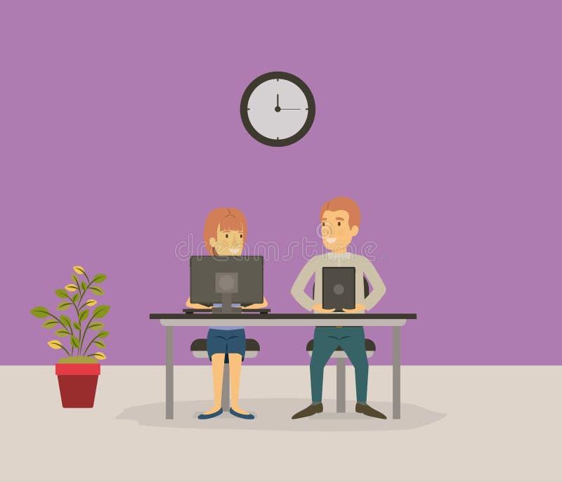 Покрасьте предпосылку при сотрудник пар сидя в столе с бизнесменами приборов техника иллюстрация вектора