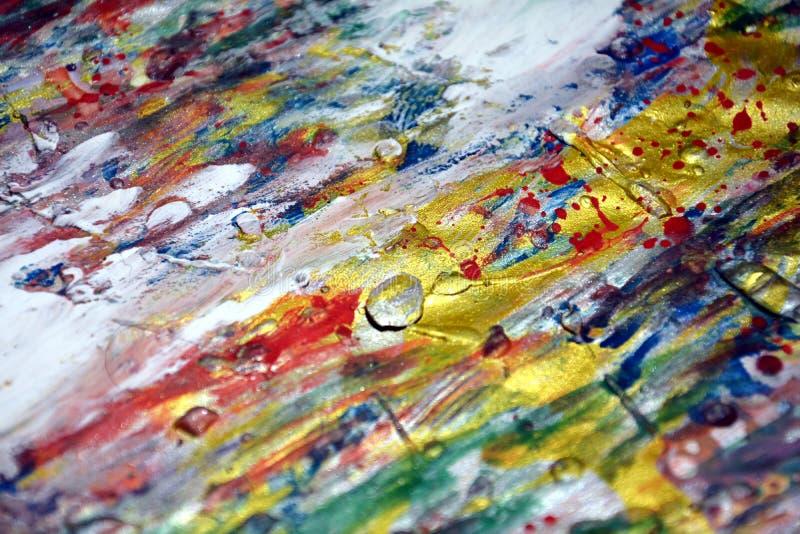 Покрасьте пятна акварели краски текстуры оранжевого темного розового красного фиолетового золота воска серебра акварели голубые б стоковая фотография rf