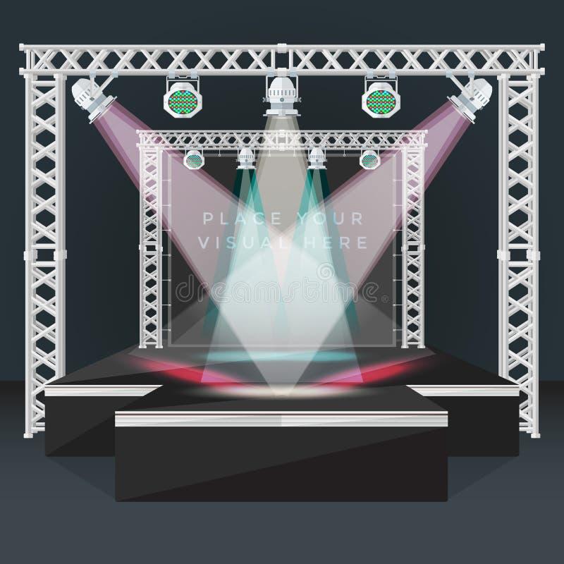 Покрасьте плоскую иллюстрацию ферменной конструкции светов задней части знамени этапа подиума бесплатная иллюстрация