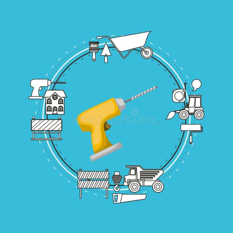 Покрасьте рамку предпосылки круговую с инструментом сверла и элементы для конструкции вокруг бесплатная иллюстрация