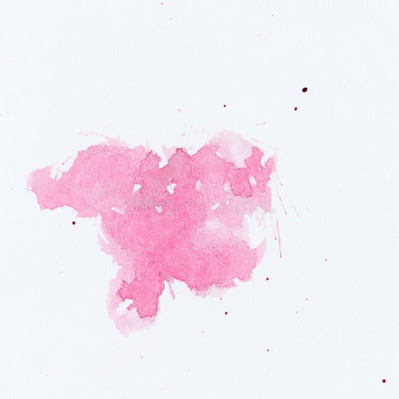 покрасьте розовый splatter Покрасьте выплеск на белой предпосылке watercolo стоковые изображения rf