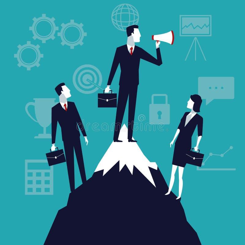 Покрасьте рост дела предпосылки с бизнесменами в верхней горе с мегафоном бесплатная иллюстрация