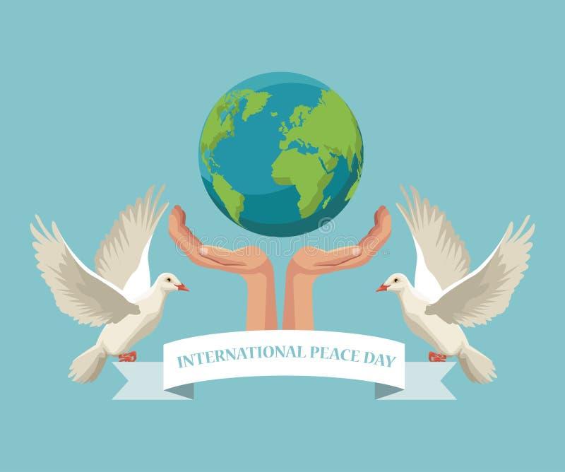 Покрасьте руки плаката держа мир земли при голуби пар летая с днем мира во всем мире ленты иллюстрация штока