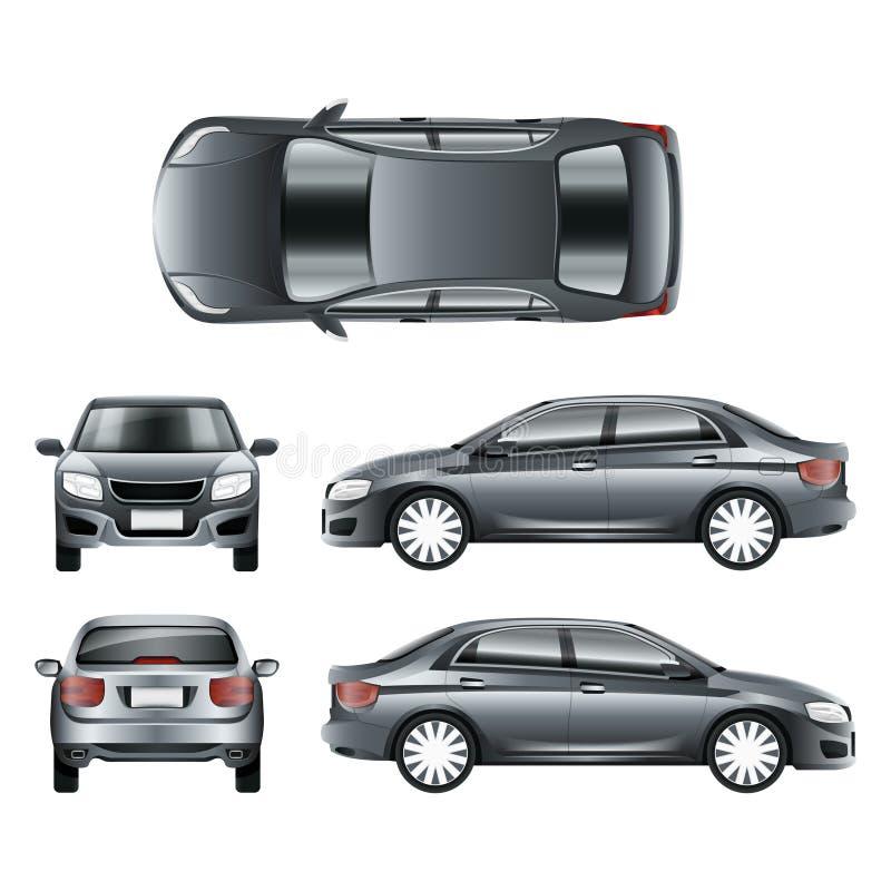 Покрасьте седан автомобиля в различном пункте шаблона вектора взглядов иллюстрация штока