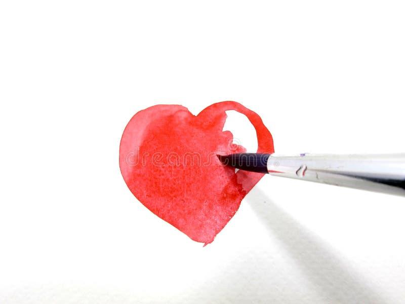 покрасьте сердце крася красную воду стоковые изображения rf