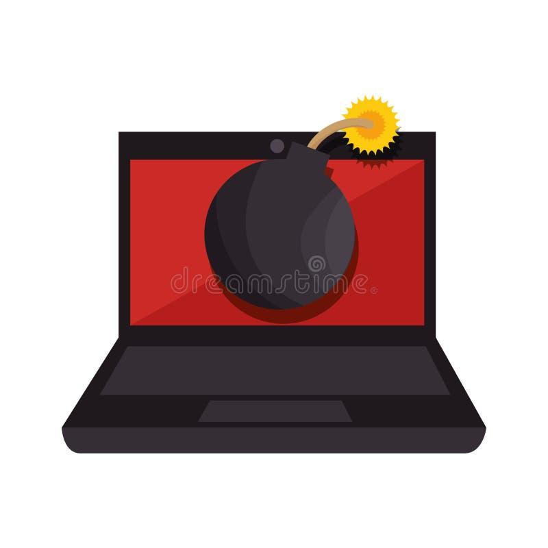 Покрасьте силуэт портативного компьютера с бомбой вируса на экране бесплатная иллюстрация