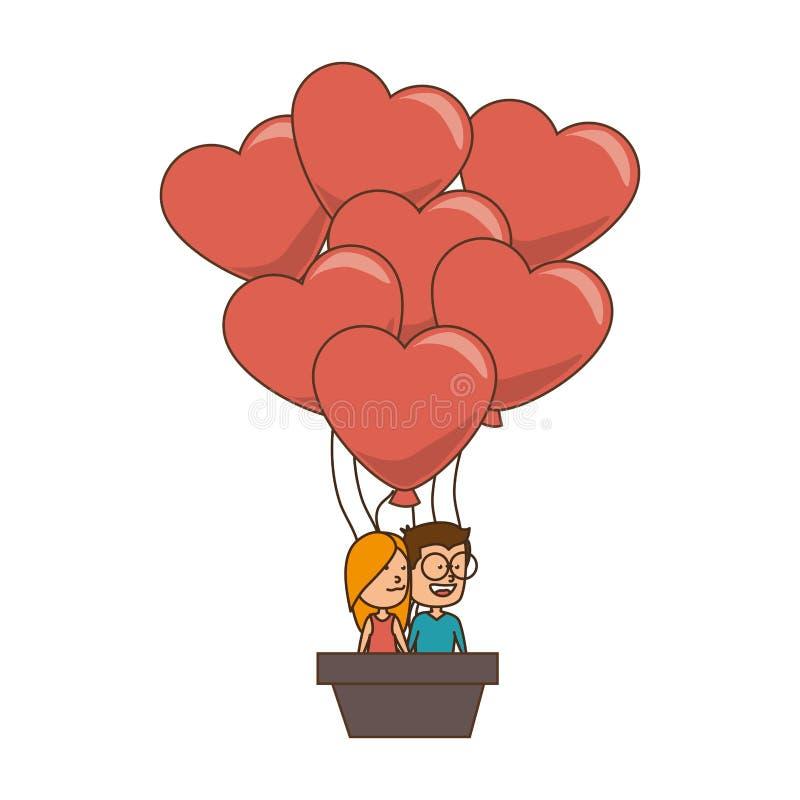 Покрасьте силуэт с парами в использующем горячем воздух воздушном шаре в форме сердец бесплатная иллюстрация