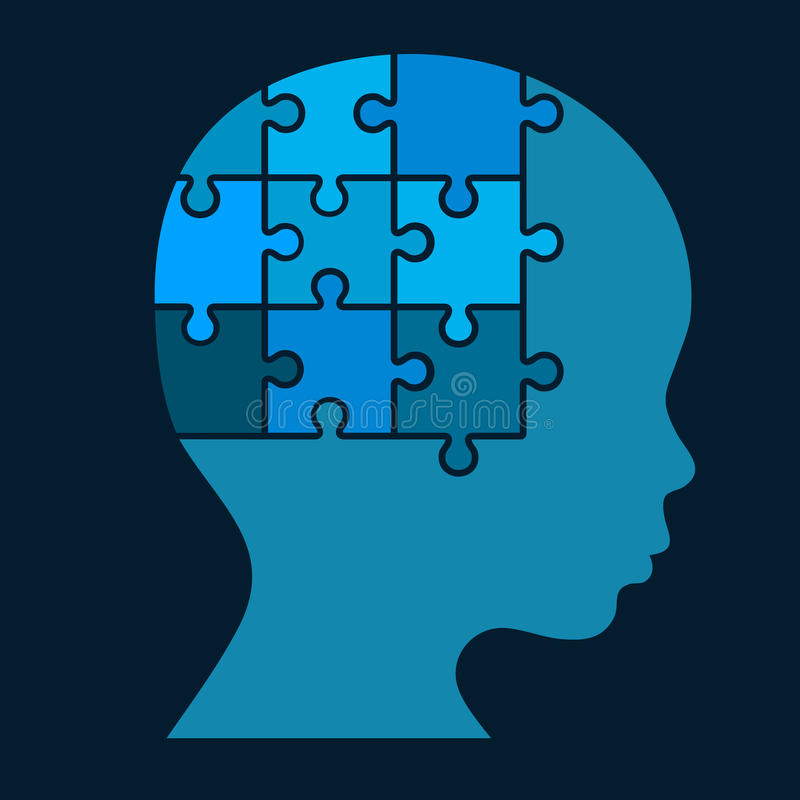 Покрасьте силуэт человеческой головы головоломки вектор бесплатная иллюстрация
