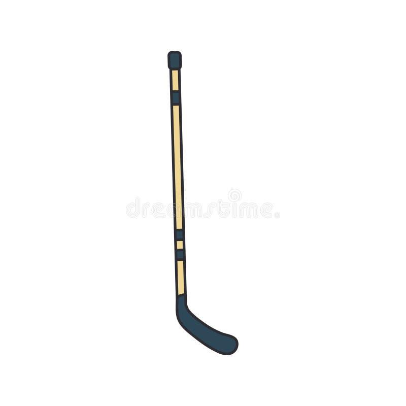 Покрасьте хоккейную клюшку значка вектора деревянную Коньки поля льда, забастовка шайбы Символ успеха оборудования спорта athirst бесплатная иллюстрация