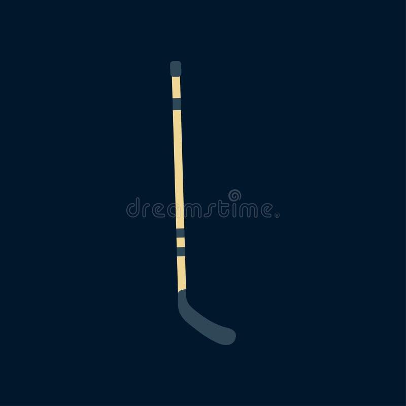 Покрасьте хоккейную клюшку значка вектора деревянную Коньки поля льда, забастовка шайбы Символ успеха оборудования спорта athirst иллюстрация вектора