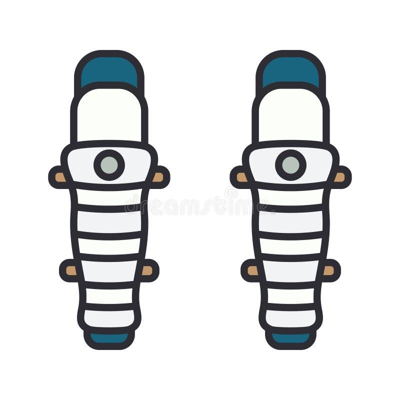 Покрасьте хоккей значка вектора, рэгби, броневые листы колена обороны бейсбола Символ успеха оборудования спорта athirst иллюстрация вектора