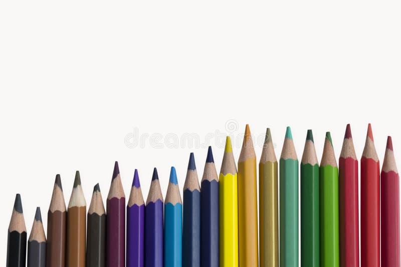 Покрасьте цвет радуги красочной предпосылки карандаша встроенный стоковое фото