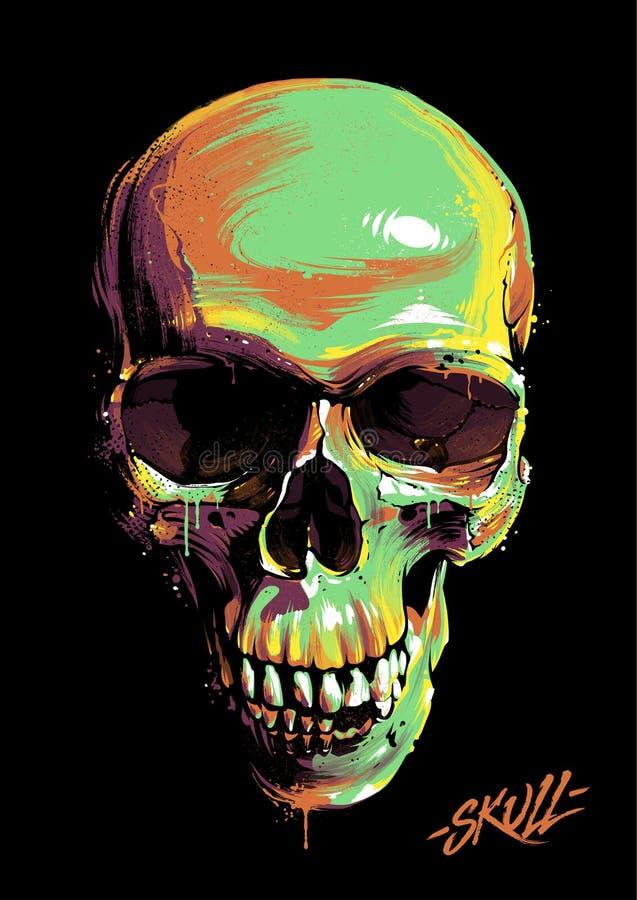 Покрасьте череп граффити иллюстрация штока