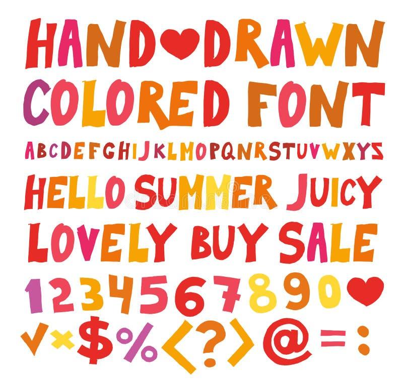 Покрасьте шарж смешного шрифта ребяческий Красные оранжевые оптимистические нарисованные вручную письма эскиза иллюстрация штока