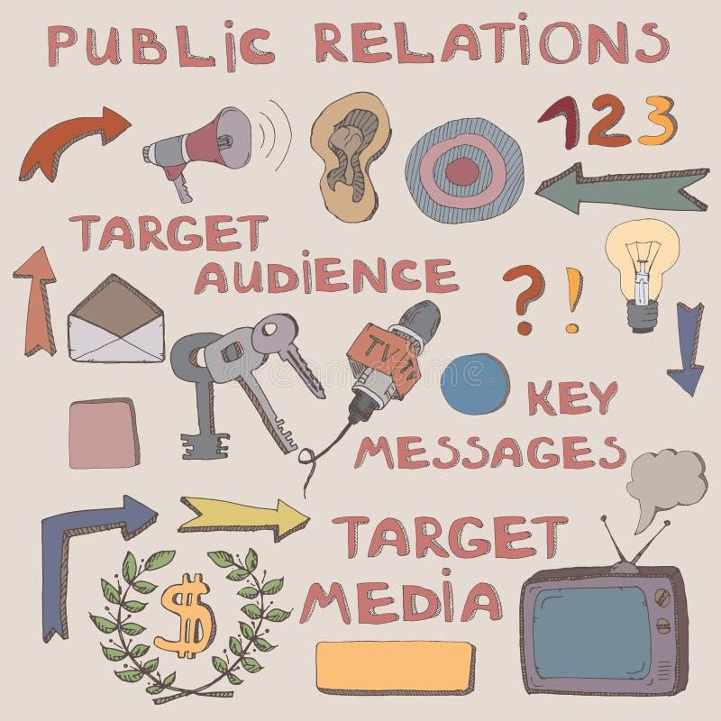 Покрасьте эскиз нарисованный рукой знаков и символов связей с общественностью иллюстрация штока