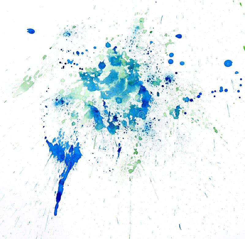 Покрасьте splatter watercolour голубой Изолированная нашлепка пятна акварелей иллюстрация вектора
