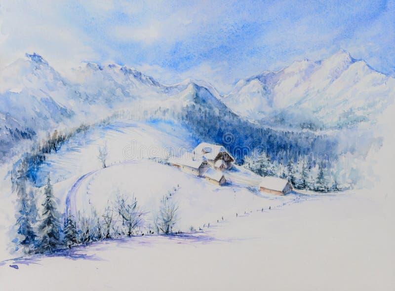 Покрашенная акварель ландшафта зимы стоковые изображения
