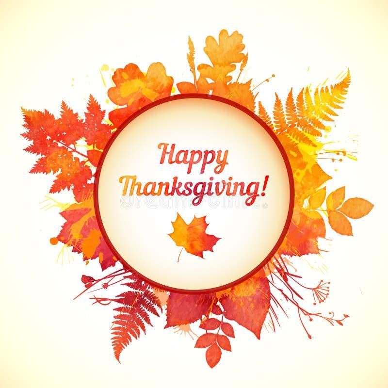 Покрашенная акварелью карточка благодарения листьев осени иллюстрация вектора