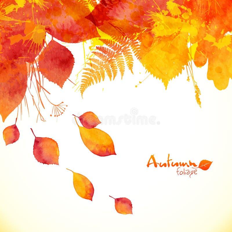Покрашенная акварелью предпосылка вектора листьев осени бесплатная иллюстрация